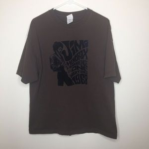 Mens XL Jimi Hendrix Felt Graphic Brown Shirt